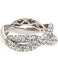 Poiray - 18K White Gold Two-Tone Double-Band Diamond Ring - Lyst