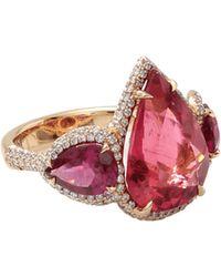 Inbar - Pear Shape Rubelite And Diamond Ring - Lyst