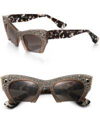 Miu Miu Semi-Rim 50Mm Cat'S-Eye Sunglasses - Lyst