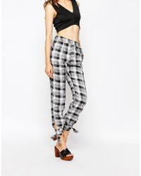 Harlyn - Open-tie Checked Trousers - Lyst