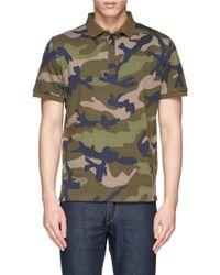 Valentino Camouflage Cotton Piqué Polo Shirt - Lyst