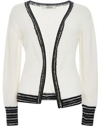 Rodarte | White And Metallic Cashmere Knit Cardigan | Lyst