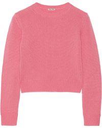 Miu Miu Cropped Cashmere Sweater - Lyst