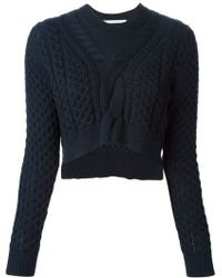 Thakoon Addition Cropped Cable Knit Sweater - Lyst