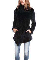 June Wear June Long Fur Knitted Coat - Lyst