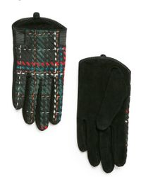 Mango Jacquard Suede Gloves - Lyst