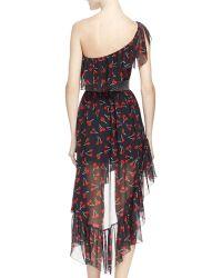Saint Laurent - One-Shoulder Cherry-Print Silk Dress - Lyst