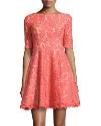 Ml Monique Lhuillier Halfsleeve Fitandflare Lace Dress - Lyst