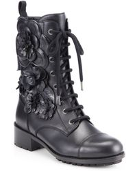 Valentino Leather Flower Appliquã Laceup Boots - Lyst