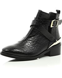 River Island Black Leather Low Heeled Cut Out Ankle Boots - Lyst