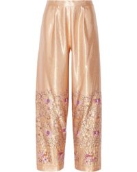 Anna Sui Embroidered Satin Wide-leg Pants - Lyst