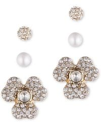 Anne Klein - Faux Pearl And Crystal Earring Jacket Set - Lyst