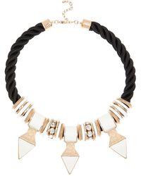 River Island Black Tribal Embellished Rope Necklace black - Lyst