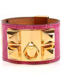 Hermès | Fuchsia Shiny Alligator Collier De Chien Bracelet | Lyst