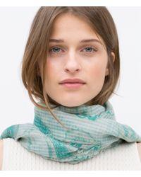 Zara Paisley Print Scarf green - Lyst