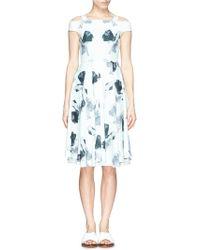 Helen Lee - Cold Shoulder Floral Print Piqué Dress - Lyst