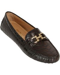 Ferragamo Saba Croc Embossed Leather Driving Shoes - Lyst