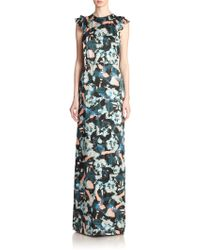 Erdem Rylie Floral-Print Belted Gown multicolor - Lyst