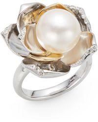 Mastoloni 11-115mm Cultured Pearl  Diamond Lotus Ring - Lyst