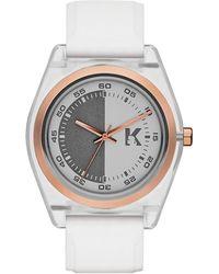 Karl Lagerfeld Graphik Rose Goldtone And Nylon Watch white - Lyst