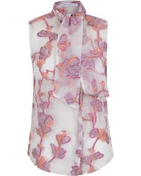 The 2nd Skin Co.   Pink And Yellow Floral Blouse With Bow   Lyst