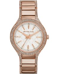 Michael Kors Mid-Size Rose Golden Stainless Steel Kerry Quilted Three-Hand Glitz Watch - Lyst