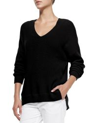 Vince Cashmere Ribbed V-Neck Sweater - Lyst