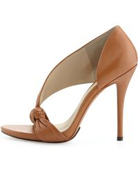 B Brian Atwood Chryssa Knotted Leather Sandal - Brown