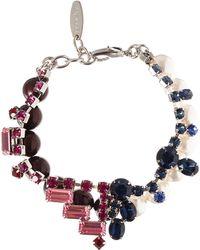 Joomi Lim Burgundy Crystal And Pearl Split Personality Bracelet
