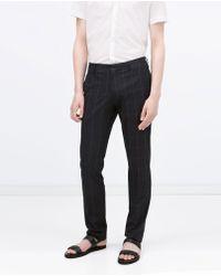 Zara Check Trousers blue - Lyst