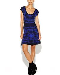 Nicole Miller Double Knit Placed Leaf Print Fit and Flare Dress - Lyst
