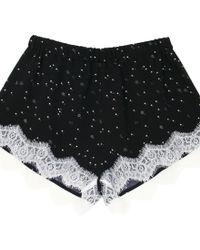 Fleur du Mal Constellation Silk Tap Shorts - Lyst