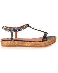 Lanvin Leather Espadrille Sandals - Lyst
