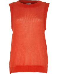 River Island Red Open Weave Loose Fit Knitted Top - Lyst