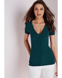 Missguided - Ribbed V Neck T Shirt Teal - Lyst