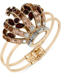 Betsey Johnson Gold-tone Crystal Crown Hinged Bangle Bracelet - Lyst