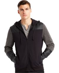Kenneth Cole New York Faux-leather Pieced Zip Hoodie - Lyst