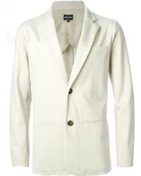 Giorgio Armani Slim Fleece Blazer beige - Lyst