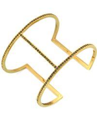 Vince Camuto - Gold-Tone Black Crystal T-Bar Cuff Bracelet - Lyst