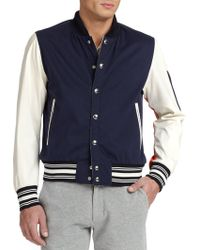 Moncler Blier Banded Varsity Jacket blue - Lyst