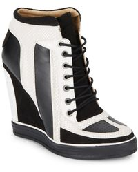 L.A.M.B. Summer Snake-Embossed Leather Sneaker Wedges/White & Black - Lyst