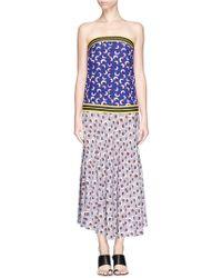 Stella McCartney Blossom Print Elastic Strapless Silk Dress - Lyst