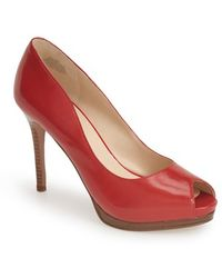 Nine West 'First Base' Peep Toe Leather Pump red - Lyst