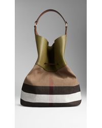 Burberry   The Large Ashby Canvas Check And Leather Bag   Lyst