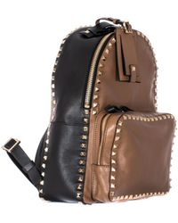 Valentino Black And Brown Leather Rockstud Backpack black - Lyst