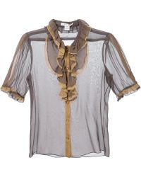 Rodarte Sheer Ruffled Blouse brown - Lyst