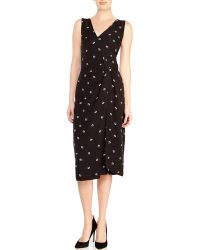Band Of Outsiders Black Floral Wrap Dress - Lyst