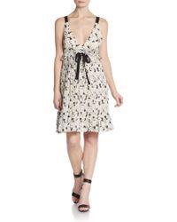 Jill Stuart Cherry Blossom Silk Ruffle Dress - Lyst