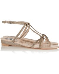 Lucy Choi - Bloomsbury Glitter-Finished Leather Wedge Sandals - Lyst