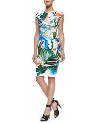 Roberto Cavalli Alize-print Keyhole Sheath Dress - Lyst